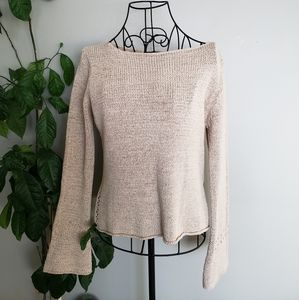 Express Casual bell sleeve beaded detail sweater